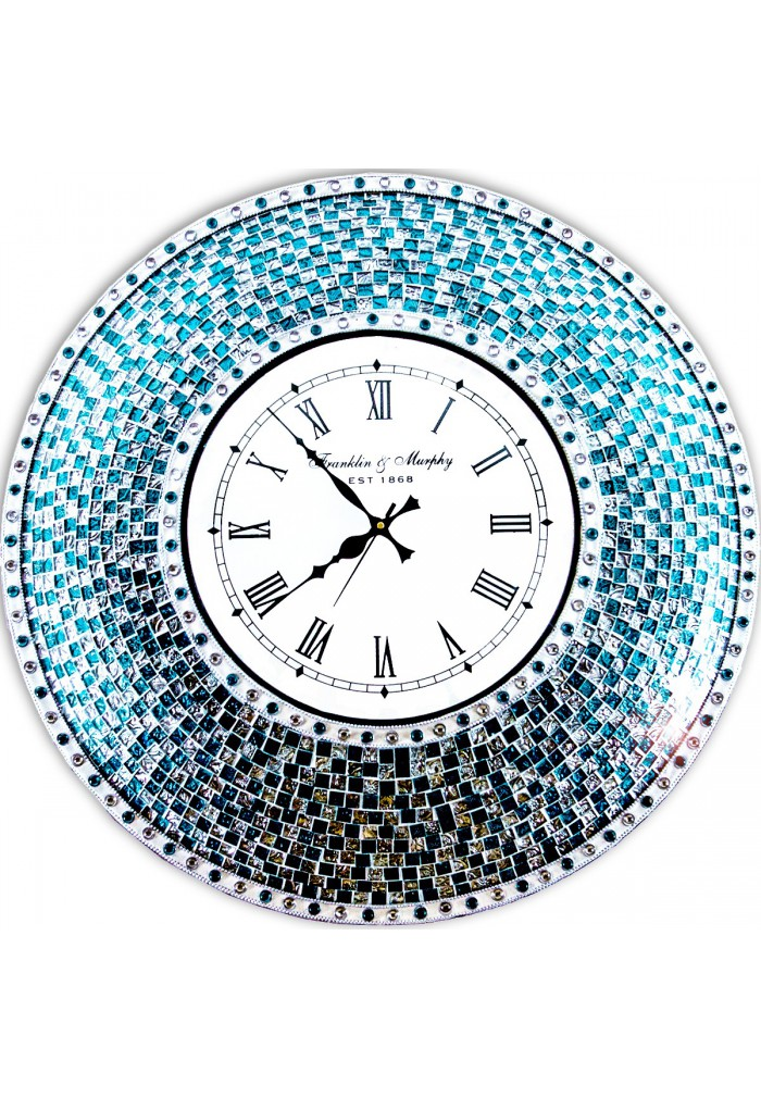 "DecorShore 24"" Silver/Turquoise Mosaic Wall Clock, Decorative Round Wall Clock"