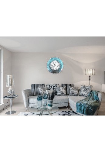 """DecorShore 24"""" Silver/Turquoise Mosaic Wall Clock, Decorative Round Wall Clock"""