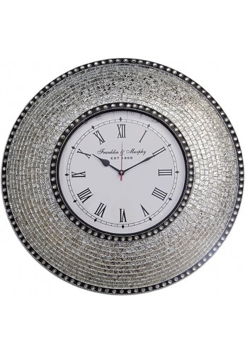 "22.5"" Silver, Handmade Glass Mosaic Wall Clock, Quiet Motion Design by DecorShore"