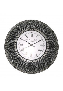 "22.5"" Black, Handmade Glass Mosaic Wall Clock, Quiet Motion Design by DecorShore"
