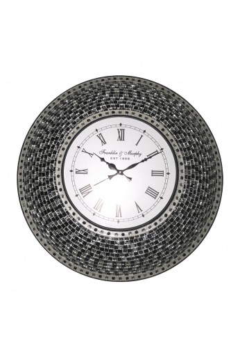 "22.5"" Black Wall Clock, Handmade Glass Mosaic Wall Clock, Quiet Motion Design by DecorShore"