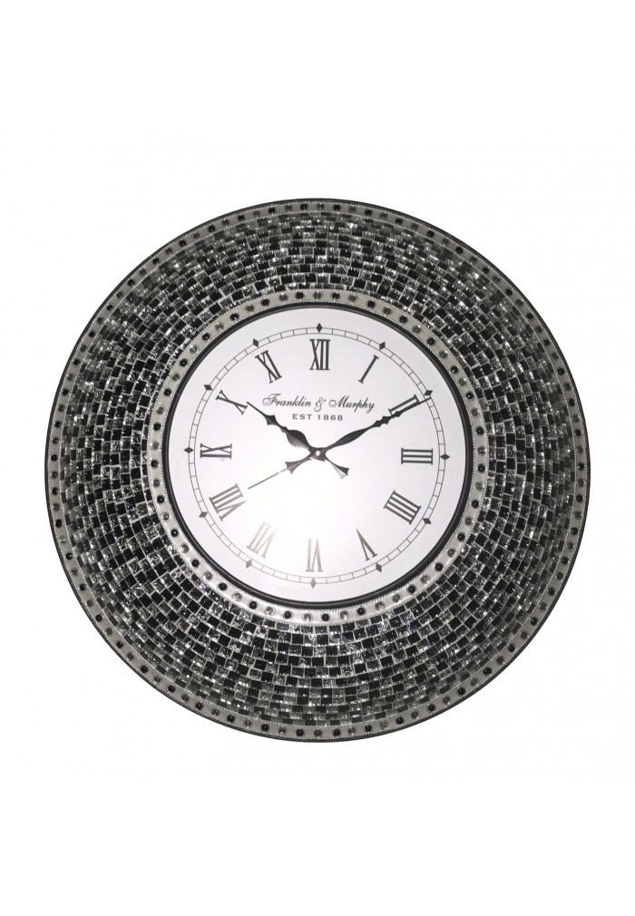 "DecorShore 24"" Black Mosaic Wall Clock, Decorative Round Wall Clock"