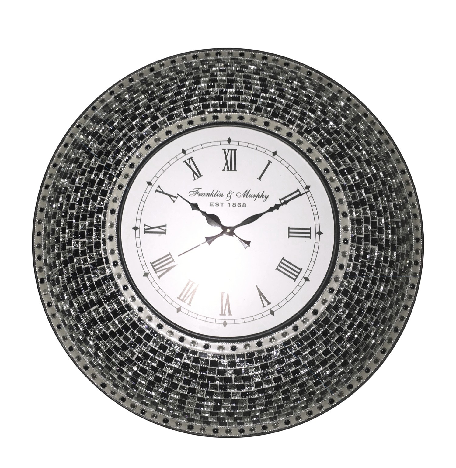 Mosaic wall clock choice image home wall decoration ideas buy 225 black handmade glass mosaic wall clock online decorshore amipublicfo choice image amipublicfo Image collections