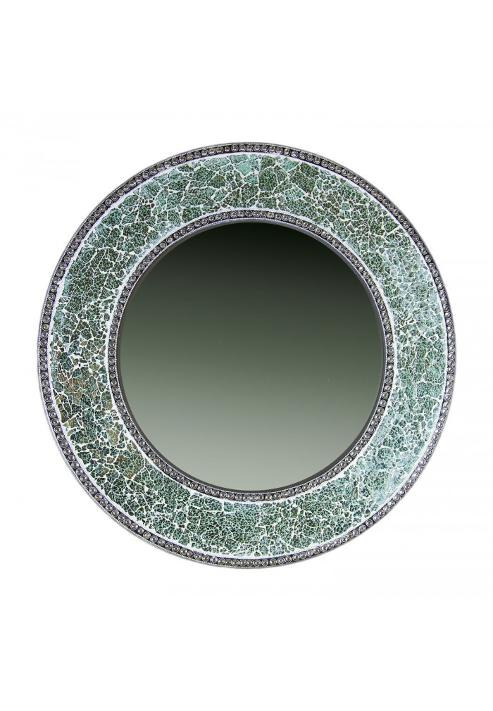 Buy 24 green mosaic decorative wall mirror crackle glass for Mirror glass design