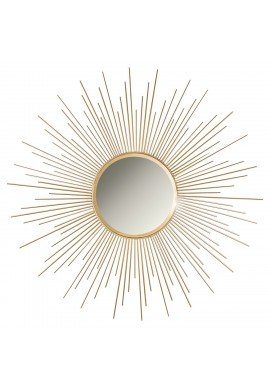 "Decorshore 36"" Gold Sunburst Circular Metal Round Decorative Wall Mirror"