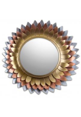Décor Shore Iron metal flower Mirror in 3 Tone copper color