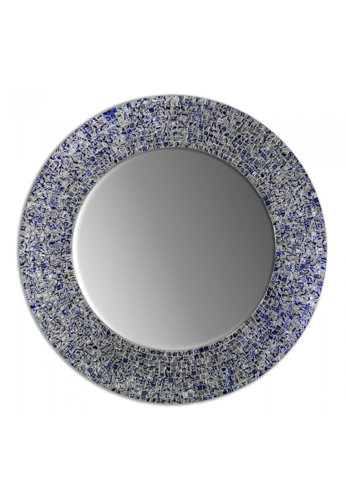 24 Sapphire And Silver Handmade Round Decorative Glass Mosaic Tile Framed Accent Wall Mirror