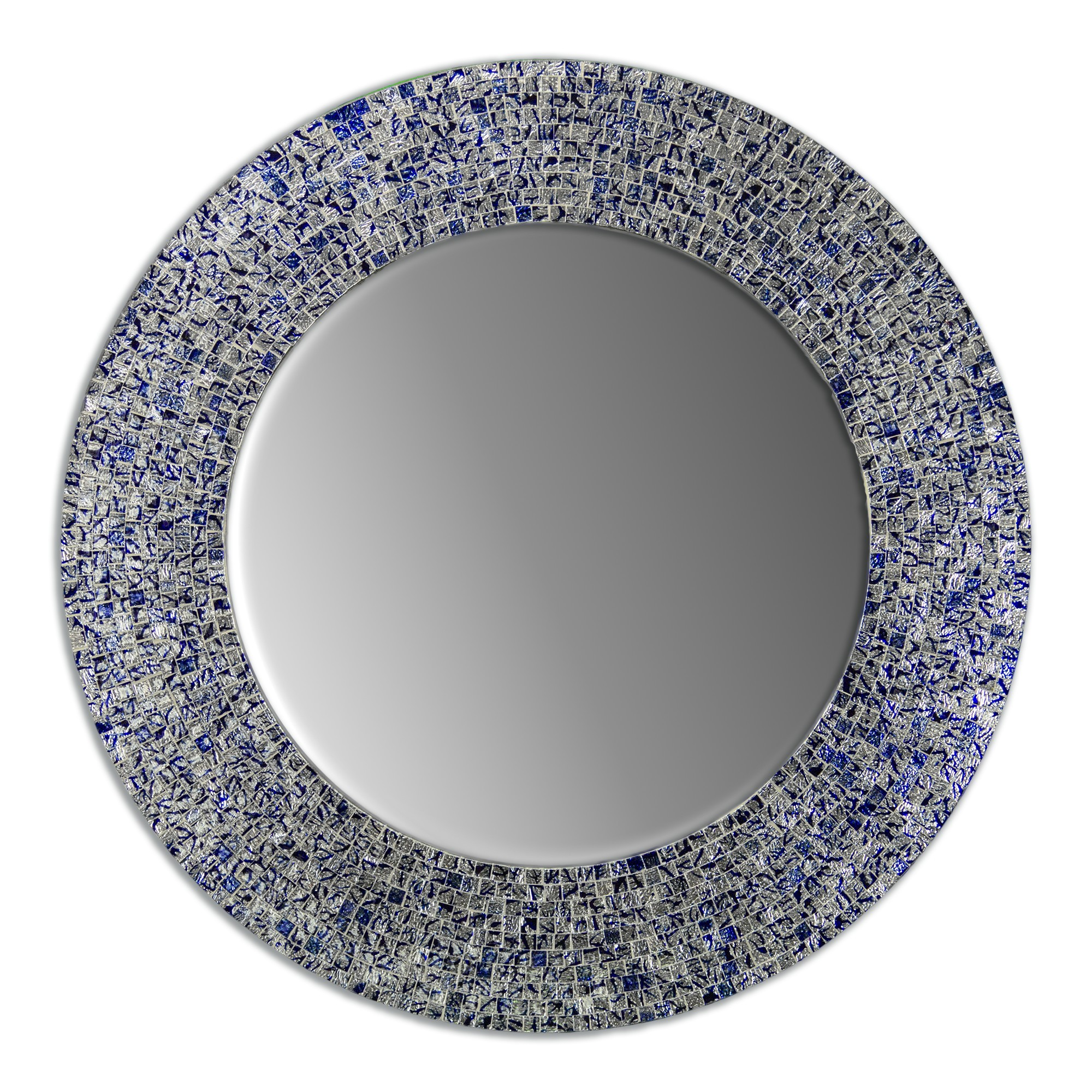 24 Sapphire And Silver Handmade Decorative Glass Mosaic Wall Mirror Decors