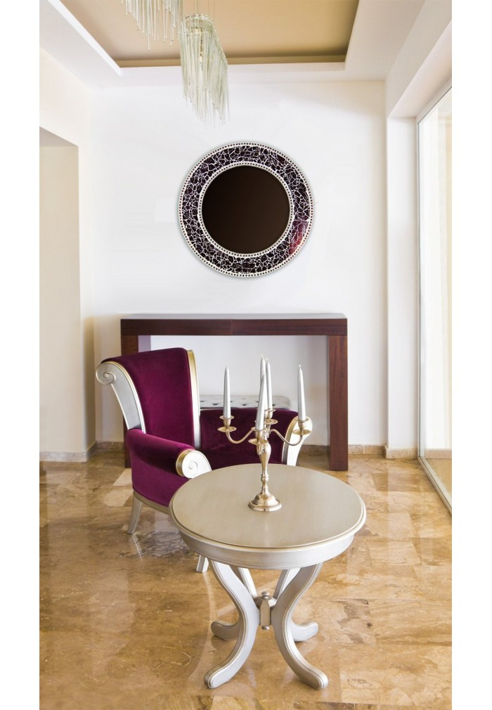 Buy 24 Quot Brown Round Crackled Glass Mosaic Mirror Online