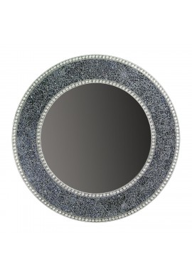 24 inch Black and Silver, Round Wall Mirror, Handmade Crackled Glass Mosaic Accent Wall Mirror, Decorative Design by DecorShore