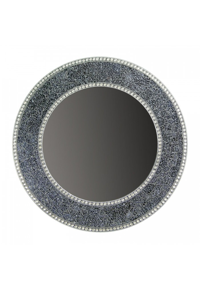 Buy 24 Quot Black And Silver Crackled Glass Mosaic Wall Mirror