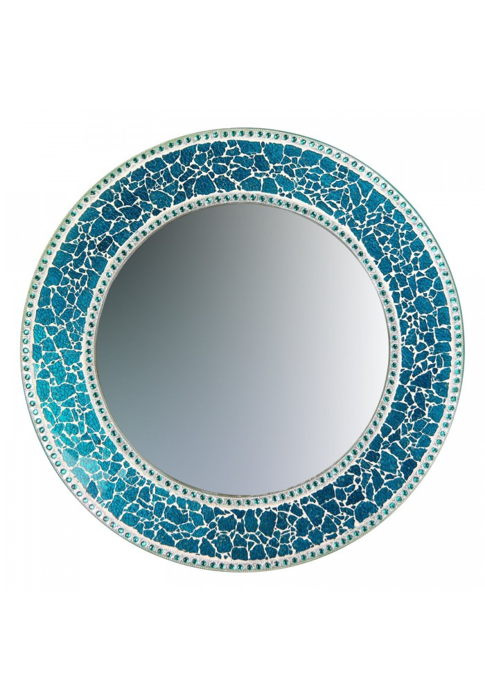 Buy 24 sapphire round crackled glass mosaic decorative Round decorative wall mirrors
