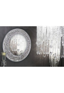 "24"" Silver, Round Wall Mirror, Crackled Glass Mosaic, Decorative Design by DecorShore"