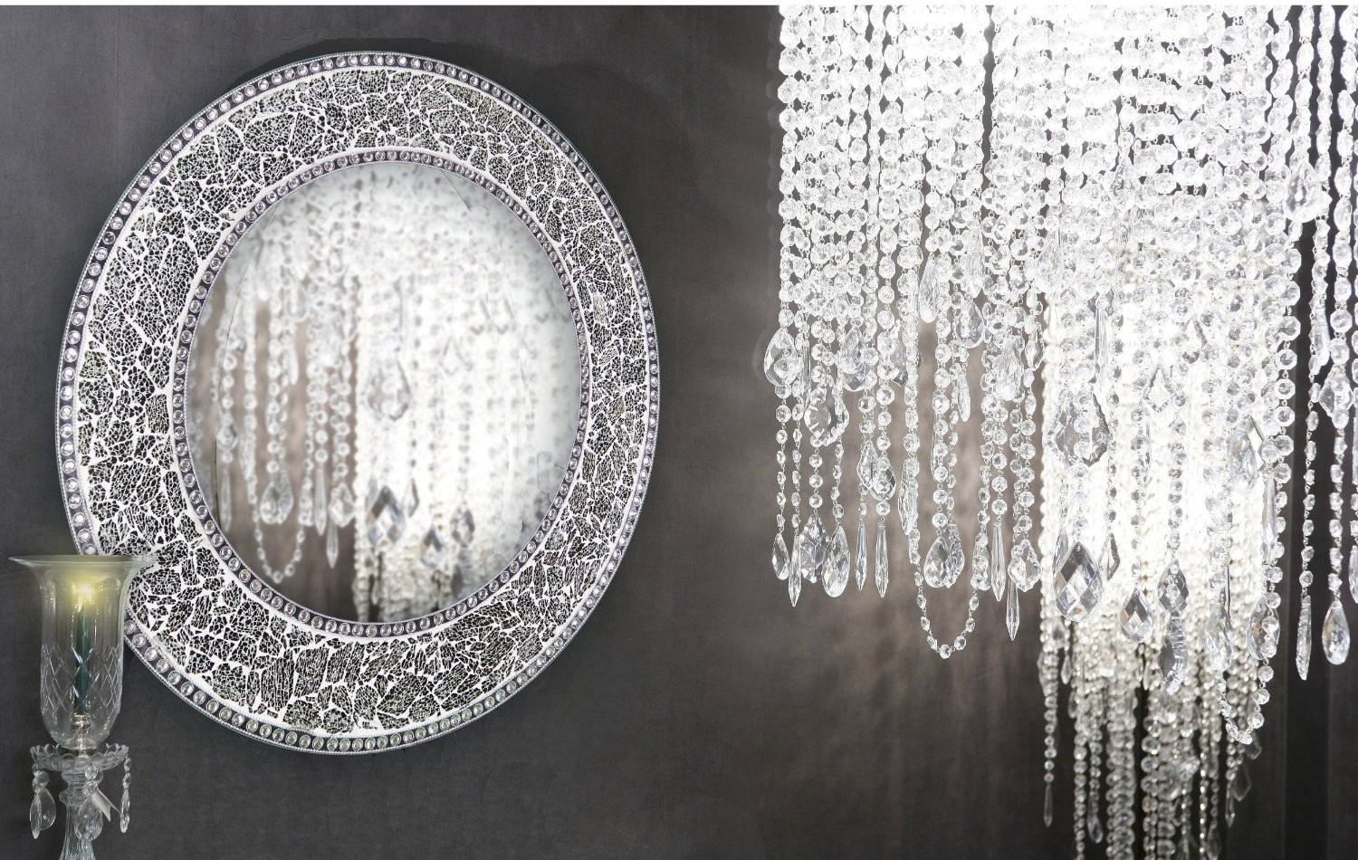 Buy 24 Silver Round Crackled Glass Mosaic Decorative Wall Mirror Online Decorshore