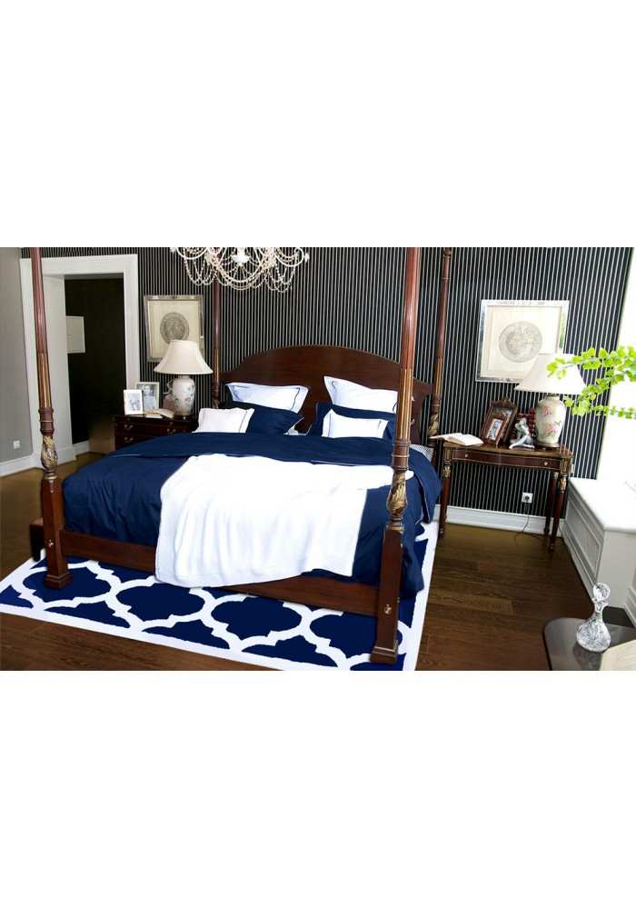 Buy aroa cupola navy blue hand tufted area rug moroccan for Buy cupola