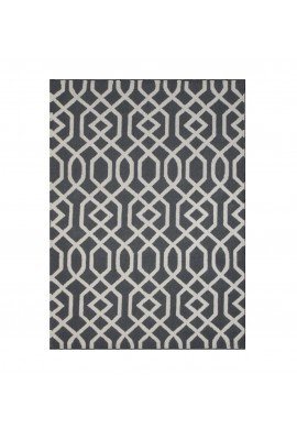 DecorShore Aroa Wave Collection, Contemporary Area Rug, Hand Tufted, 100% Wool, Handmade Moroccan Trellis Design, Thick Plush Pile, Grey