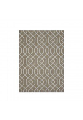 DecorShore Aroa Wave Collection, Contemporary Area Rug, Hand Tufted, 100% Wool, Handmade Moroccan Trellis Design, Thick Plush Pile, Sand