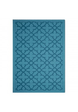 DecorShore Flamenco Collection, Contemporary Area Rug, Hand Loomed, 100% Wool, handmade cut-loop design, extra thick plush pile, Quatrefoil, Turquoise