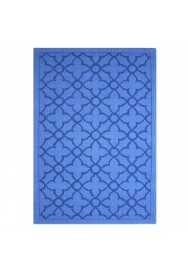 DecorShore Flamenco Collection, Contemporary Area Rug, Hand Loomed, 100% Wool, handmade cut-loop design, extra thick plush pile, Quatrefoil, Blue