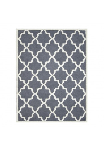 Dark Grey and Ivory Hand-Tufted Area Rug, 100% Natural Wool Moroccan Trellis Design, Plush Hi/Low Cut Pile by DecorShore