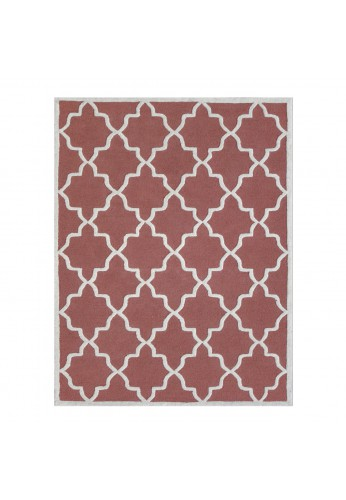 Coral and Ivory Hand-Tufted Area Rug, 100% Natural Wool Moroccan Trellis Design, Plush Hi/Low Cut Pile by DecorShore