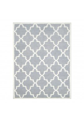 Light Grey and Ivory Hand-Tufted Area Rug, 100% Natural Wool Moroccan Trellis Design, Plush Hi/Low Cut Pile by DecorShore