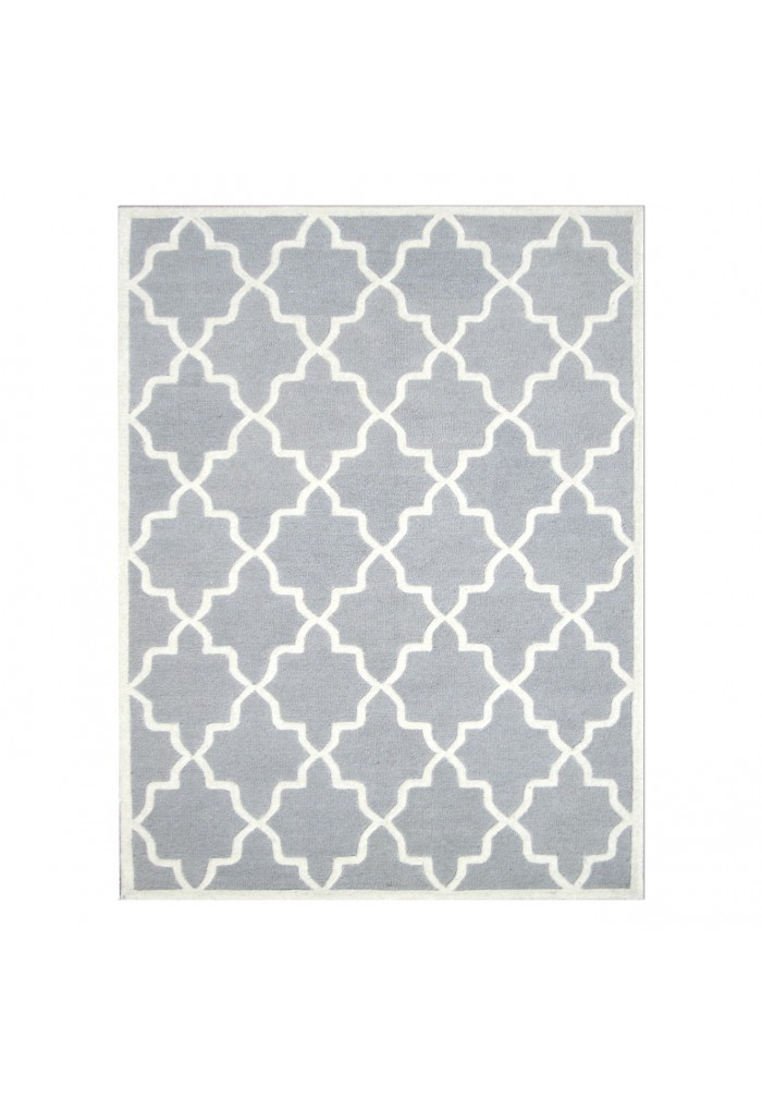 Light Grey And Ivory Hand Tufted Area Rug, 100% Natural Wool Moroccan  Trellis ...