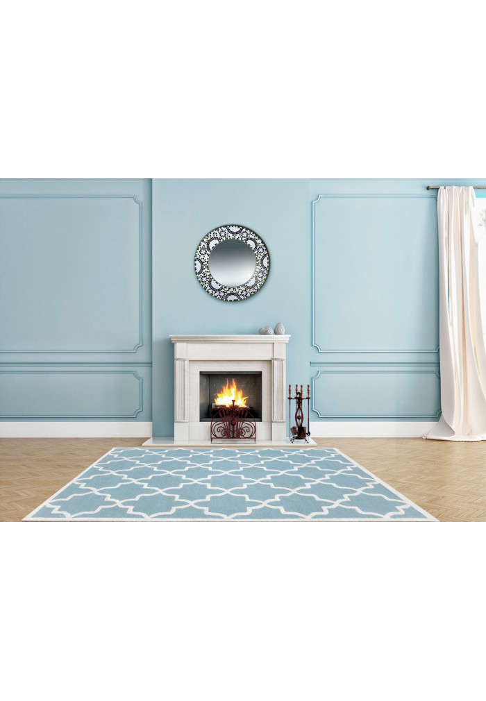 Aqua and Ivory Hand-Tufted Area Rug, 100% Natural Wool Moroccan Trellis Design, Plush Hi/Low Cut Pile by DecorShore