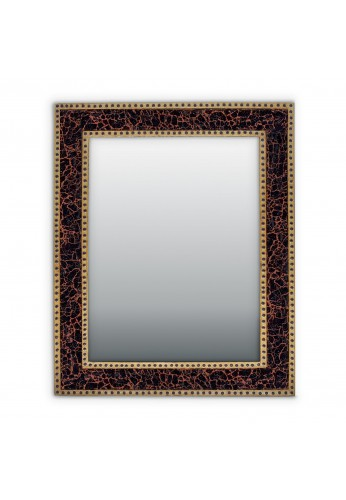 "DecorShore Mosaic Glass Large Vanity Mirror | Handmade Crackled Glass Rectangular Framed Decorative Wall Mounted Mirror for Bedroom, Living Room and Bathroom | Mahogany Brown - 30""x24"""
