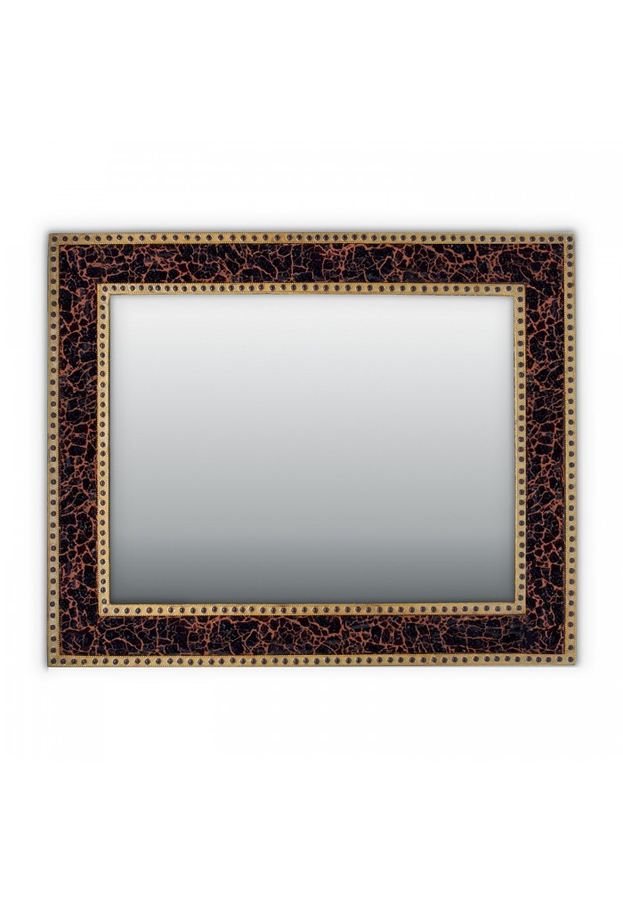 Mahogany Brown Crackled Glass Decorative Wall Mirror