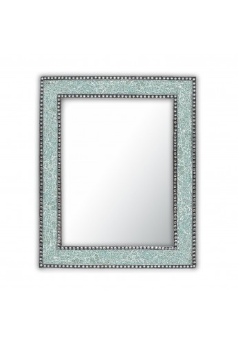 30X24 inch Mint Green Mosaic Crackled Glass Decorative Wall Mirror, Handmade Crackled Glass Framed Glamorous Rectangular Wall Mirror by DecorShore
