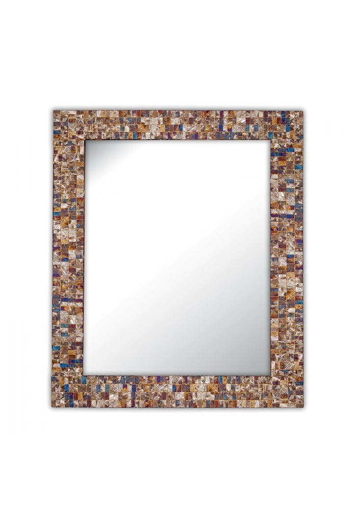 "Multi-Colored & Gold, Luxe Mosaic Glass Framed Wall Mirror, 30""x24"" Decorative Embossed Mosaic Rectangular Vanity Mirror"
