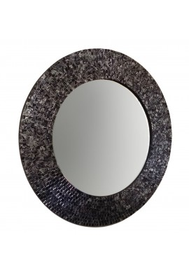 "DecorShore 24"" Black and Silver Metallic Round Traditional Glass Mosaic Tile Framed Handmade Decorative Accent Wall Mirror"