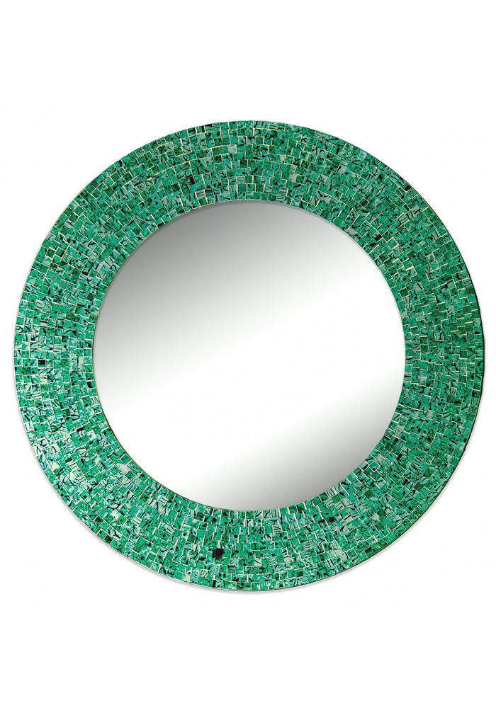 "DecorShore 24"" Traditional Glass Mosaic Mirror, wall mirror, decorative wall mirror (Emerald Green Metallic)"