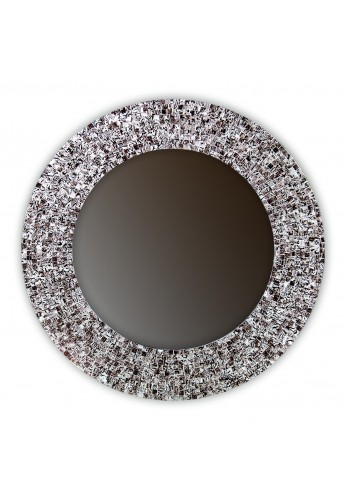 "24"" Iced Coffee, Round Decorative Mosaic Glass Wall Mirror, Handmade Tile Framed by DecorShore"