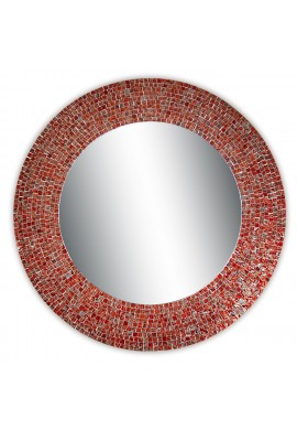 "24"" Red and Silver Traditional Decorative Mosaic Wall Mirror, Handmade Mosaic Framed Round Accent Wall Mirror by DecorShore"