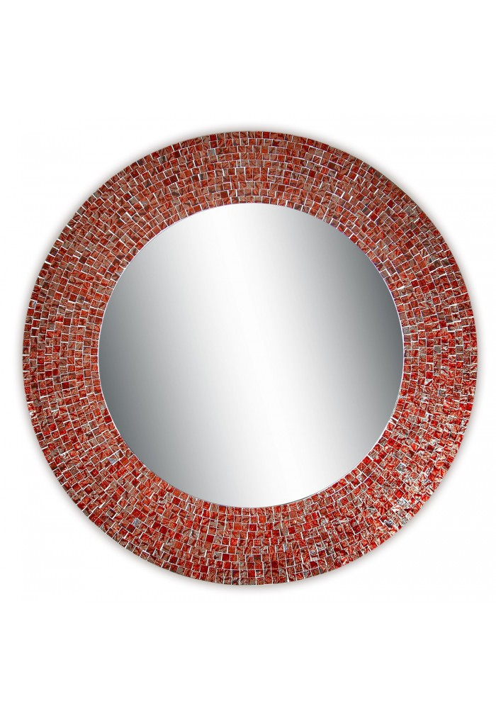 Decors 24 Traditional Mosaic Mirror Wall Decorative Red