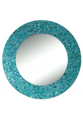 "24"" Turquoise, Handmade Wall Mirror, Decorative Glass Mosaic by DecorShore"
