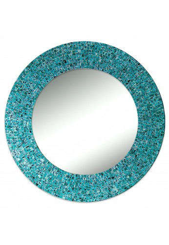 "24"" Turquoise, Handmade Round Decorative Glass Mosaic Tile Framed Accent Wall Mirror by DecorShore"