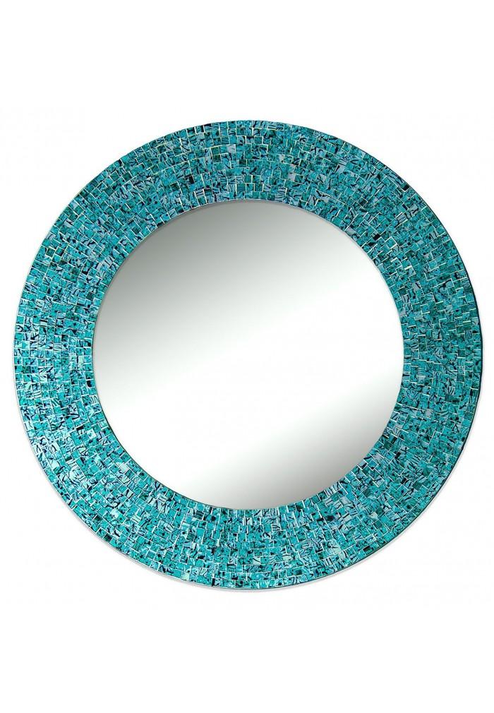 "Turquoise Wall Mirror buy 24"" turquoise handmade decorative glass mosaic wall mirror"