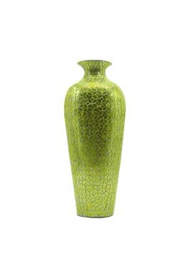 DecorShore Vedic Vase -Sparkling Metal Floor Vase with Floral Pattern Glass Mosaic Inlay, 20 in. Designer Vase (Kale Green)