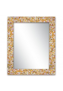 "30""x24"" Hard Candy Rainbow Striped Handmade Decorative Wall Mirror, Rectangle Glass Mosaic Tile Framed Wall Mountable Mirror by DecorShore"