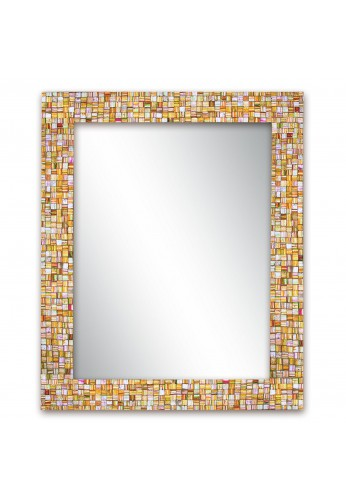30x24 Inch Hard Candy Rainbow Striped Handmade Decorative Wall Mirror, Rectangle Glass Mosaic Tile Framed Wall Mountable Mirror by DecorShore