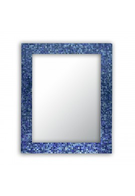 "DecorShore 30"" x 24"" Glass Mosaic Framed Decorative Wall Mirror, Handmade Eclectic Accent Mirror, Unique Vanity Mirror (Lapis Blue)"