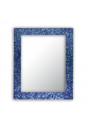 "DecorShore 30"" x 24"" Lapis Blue Glass Mosaic Tile Framed Decorative Rectangular Wall Mirror, Handmade Eclectic Accent Mirror, Unique Vanity Mirror"