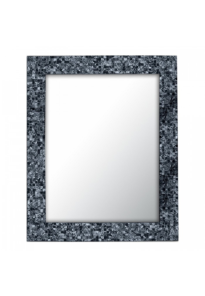 Glass Mosaic Framed Decorative Wall Mirror (Sharkskin Silver)