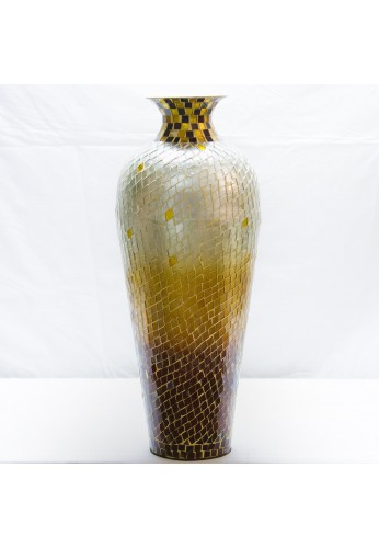 "DecorShore 20"" Amphora Nouveau Vase, Metal Floor Vase with Decorative Glass Mosaic Overlay (Chocolate Pearl Ombre)"