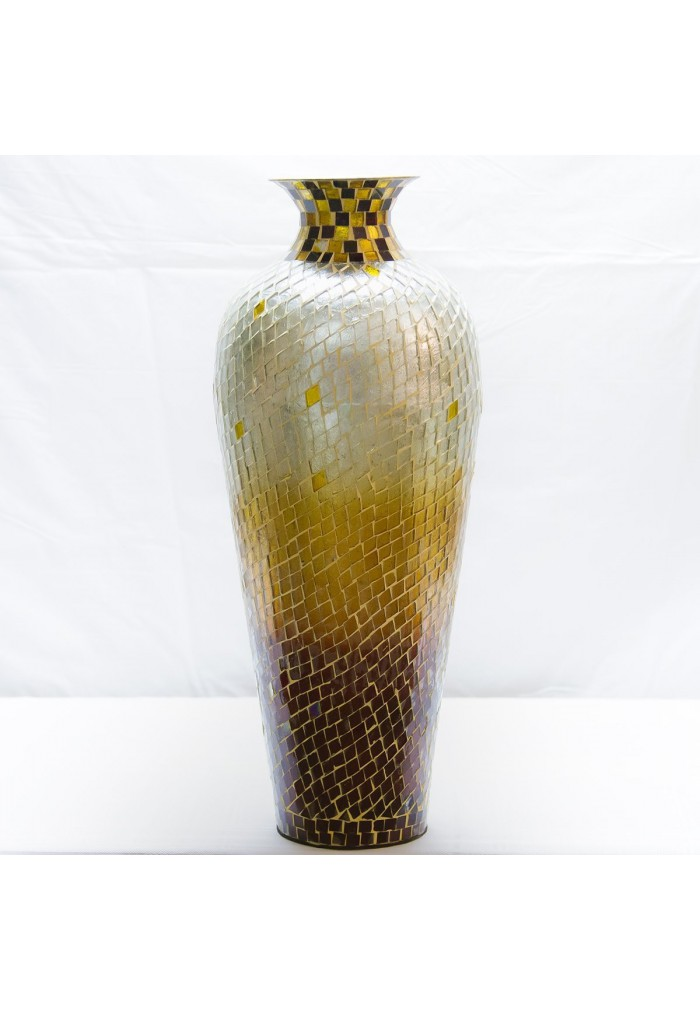 Buy 20 Quot Amphora Nouveau Vase Metal Floor Vase With Decorative Glass Mosaic Overlay Decorshore