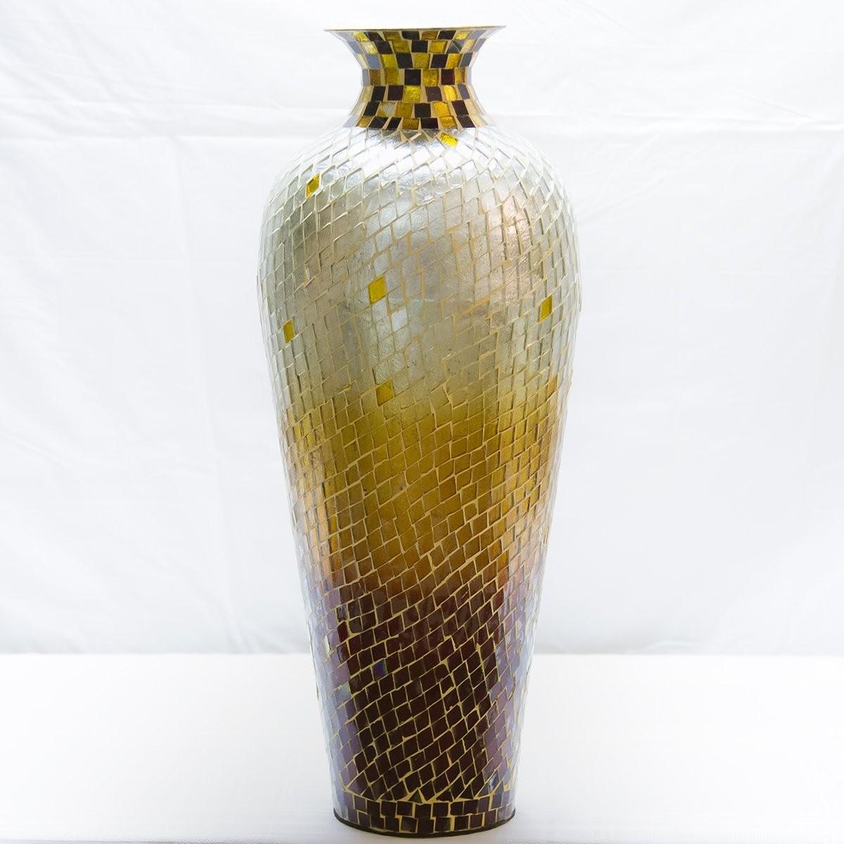 Shop metal floor vase pedestal vase mosaic accent vase decorshore decorshore 20 amphora nouveau vase metal floor vase with decorative glass mosaic overlay reviewsmspy