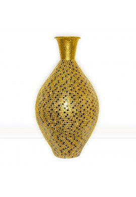 "Alhambra Regent Gold Surahi Jug Vase, 30"" Metal Vase w/ Glass Mosaic Decorative Accent / Floor Vase"